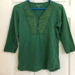 Eddie Bauer Green 3/4 Length Sleeve Shirt Small